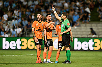 31st January 2020; Netstrata Jubilee Stadium, Sydney, New South Wales, Australia; A League Football, Sydney FC versus Brisbane Roar; the referee gives Scott Neville of Brisbane Roar a red card for hand ball inside the penalty area leading to a penalty kick to Sydney FC