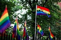 NEW YORK, NY - JUNE 18: Gay pride flags are seen in front of the historical landmark Tavern The Stonewall Inn on June 18, 2019 in New York. The Stonewall riots were a series of violent demonstrations by members of the gay (LGBT) community against a police raid starting June 28, 1969, at the Stonewall Inn at the Greenwich Village neighborhood of Manhattan, . (Photo by STRKB/VIEWpress)