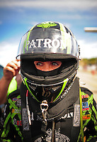 Mar. 30, 2012; Las Vegas, NV, USA: NHRA funny car driver Alexis Dejoria during qualifying for the Summitracing.com Nationals at The Strip in Las Vegas. Mandatory Credit: Mark J. Rebilas-US PRESSWIRE