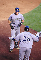 May 8, 2010; Phoenix, AZ, USA; Milwaukee Brewers outfielder Ryan Braun (8) is congratulated by first baseman Prince Fielder after hitting a three run home run in the fifth inning against the Arizona Diamondbacks at Chase Field. Mandatory Credit: Mark J. Rebilas-