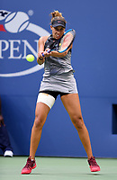 FLUSHING NY- SEPTEMBER 09: ***NO NY DAILIES*** Madison Keys returns a volley against Sloane Stephens. Stephens defeats Keys in straight sets 6-3, 6-0 during the Womens finals on Arthur Ashe Stadium at the US Open in the USTA Billie Jean King National Tennis Center on September 9, 2017 in Flushing Queens. <br /> CAP/MPI04<br /> &copy;MPI04/Capital Pictures