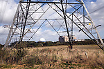 Electricity power lines running from the nuclear power station, Sizewell, Suffolk, England