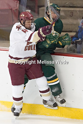 Mike Brennan, Matt Syroczynski - The Boston College Eagles completed a shutout sweep of the University of Vermont Catamounts on Saturday, January 21, 2006 by defeating Vermont 3-0 at Conte Forum in Chestnut Hill, MA.