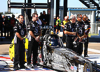 Sept. 22, 2013; Ennis, TX, USA: Crew members with NHRA top fuel dragster driver Bob Vandergriff Jr during the Fall Nationals at the Texas Motorplex. Mandatory Credit: Mark J. Rebilas-