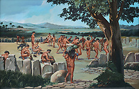 Illustration of the Areyto celebration on the ceremonial square, used by indigenous Taino people for sports and religious ceremonies, in the Museo del Hombre Dominicano, founded in 1973 and designed by Jose Antonio Caro Alvarez, on the Plaza de la Cultura in the Colonial Zone, in Santo Domingo, capital of the Dominican Republic, in the Caribbean. In the museum garden there is a reconstruction of a Yuba ceremonial square. The museum houses collections on the culture of the Precolumbian Taino people. Santo Domingo's Colonial Zone is listed as a UNESCO World Heritage Site. Picture by Manuel Cohen
