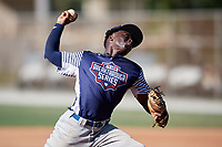 Vantrell Reed during the WWBA World Championship at the Roger Dean Complex on October 21, 2018 in Jupiter, Florida.  Vantrell Reed is a shortstop / right handed pitcher from Vicksburg, Mississippi who attends Warren Central High School.  (Mike Janes/Four Seam Images)