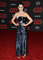 "Daisy Ridley at the world premiere for ""Star Wars: The Last Jedi"" at the Shrine Auditorium. Los Angeles, USA 09 December  2017<br /> Picture: Paul Smith/Featureflash/SilverHub 0208 004 5359 sales@silverhubmedia.com"