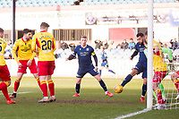 8th February 2020; Dens Park, Dundee, Scotland; Scottish Championship Football, Dundee versus Partick Thistle; Kane Hemmings of Dundee turns in the box and scores the opening goal to put his side 1-0 ahead in the 23rd minute