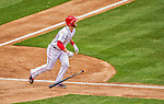 1 April 2013: Washington Nationals outfielder Bryce Harper hits his second solo home run during his second at-bat giving the Nationals a 2-0 lead in the Opening Day Game against the Miami Marlins at Nationals Park in Washington, DC. Harper was named Player of the Game as the Nationals defeated the Marlins 2-0 to launch the 2013 season. Mandatory Credit: Ed Wolfstein Photo *** RAW (NEF) Image File Available ***