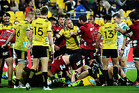 Tempers flare during the Super Rugby match between the Hurricanes and Crusaders at Westpac Stadium in Wellington, New Zealand on Saturday, 10 March 2018. Photo: Dave Lintott / lintottphoto.co.nz