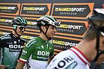 Italian Champion Davide Formolo (ITA) and Bora-Hansgrohe team at sign on before the 103rd edition of GranPiemonte 2019 running 183km from Aglie to Santuario di Oropa (Biella), Italy. 10th Octobre 2019. <br /> Picture: Marco Alpozzi/LaPresse | Cyclefile<br /> <br /> All photos usage must carry mandatory copyright credit (© Cyclefile | LaPresse/Marco Alpozzi)