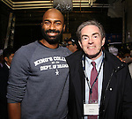 Nik Walker and James Basker backstage  before the Gilder Lehman Institute of American History Education Matinee of 'Hamilton' at the Richard Rodgers  Theatre on December 15, 2016 in New York City.