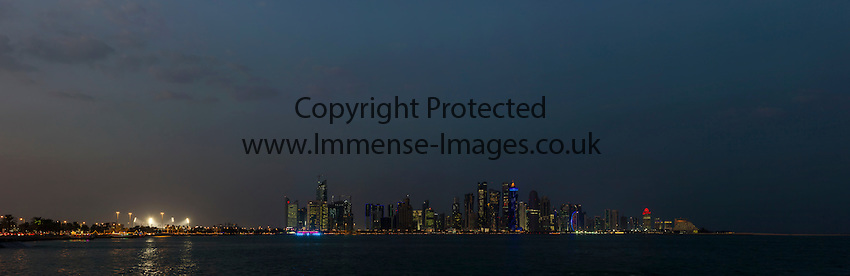 night shot of Doha Qatar