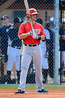 Washington Nationals infielder Rick Hague #12 during a minor league Spring Training game against the Detroit Tigers at Tiger Town on March 22, 2013 in Lakeland, Florida.  (Mike Janes/Four Seam Images)