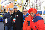 John Tartaglia (Avenue Q) with Sesame Street actors Roscoe Orman, Alan Muraoka and Loretta Long at the 86th Annual Macy's Thanksgiving Day Parade on November 22, 2012 in New York City, New York. (Photo by Sue Coflin/Max Photos)