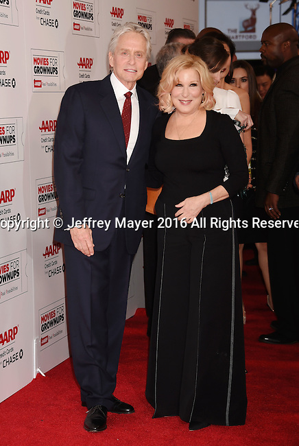 BEVERLY HILLS, CA - FEBRUARY 08: Actor Michael Douglas and actress/singer Bette Midler attend AARP's Movie For GrownUps Awards at the Regent Beverly Wilshire Four Seasons Hotel on February 8, 2016 in Beverly Hills, California.