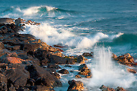 Waves off shoreline at Poipu. Kauai, Hawaii