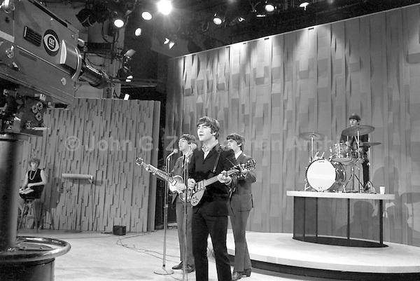 Beatles on Ed Sullivan Show, February 1964, New York. Photographer John G. Zimmerman.C1-27