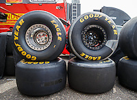 Aug 19, 2016; Brainerd, MN, USA; Detailed view of Goodyear racing tires during NHRA qualifying for the Lucas Oil Nationals at Brainerd International Raceway. Mandatory Credit: Mark J. Rebilas-USA TODAY Sports