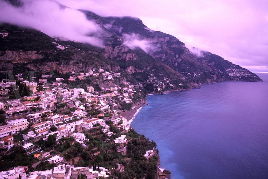Beautiful vista of fabulous coastal town of Positano Italy on cliff