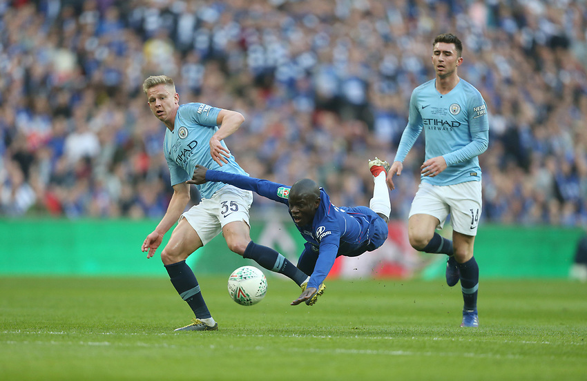 Chelsea's Ngolo Kante and Manchester City's Oleksandr Zinchenko<br /> <br /> Photographer Rob Newell/CameraSport<br /> <br /> The Carabao Cup Final - Chelsea v Manchester City - Sunday 24th February 2019 - Wembley Stadium - London<br />  <br /> World Copyright © 2018 CameraSport. All rights reserved. 43 Linden Ave. Countesthorpe. Leicester. England. LE8 5PG - Tel: +44 (0) 116 277 4147 - admin@camerasport.com - www.camerasport.com
