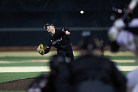 Louisville Cardinals starting pitcher Reid Detmers (42) delivers a pitch to the plate against the Wake Forest Demon Deacons at David F. Couch Ballpark on March 6, 2020 in  Winston-Salem, North Carolina. The Cardinals defeated the Demon Deacons 4-1. (Brian Westerholt/Four Seam Images)