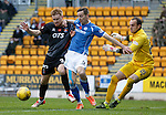 St Johnstone v Kilmarnock...07.11.15  SPFL  McDiarmid Park, Perth<br /> Steven MacLean and Steven Smith battle<br /> Picture by Graeme Hart.<br /> Copyright Perthshire Picture Agency<br /> Tel: 01738 623350  Mobile: 07990 594431