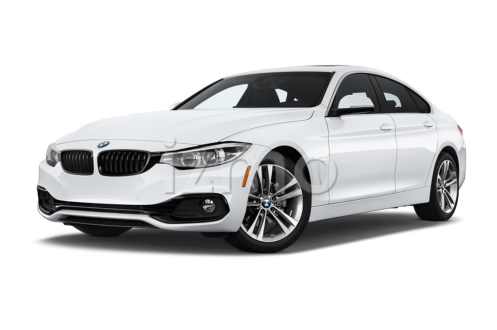 Stock pictures of low aggressive front three quarter view of a 2018 BMW 4 Series Gran Coupe 430i 5 Door Hatchback