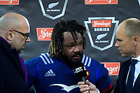 Skysport's Jeff Wilson talks to France's Mathieu Bastareaud after the Steinlager Series international rugby match between the New Zealand All Blacks and France at Westpac Stadium in Wellington, New Zealand on Saturday, 16 June 2018. Photo: Dave Lintott / lintottphoto.co.nz