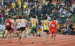 12 JUNE 2010: The runners in the Mens 1500 meter run head to the finish line during the Division I Men's and Women's Track and Field Championship held at Hayward Field on the University of Oregon campus in Eugene, OR.  Steve Dykes/NCAA Photos
