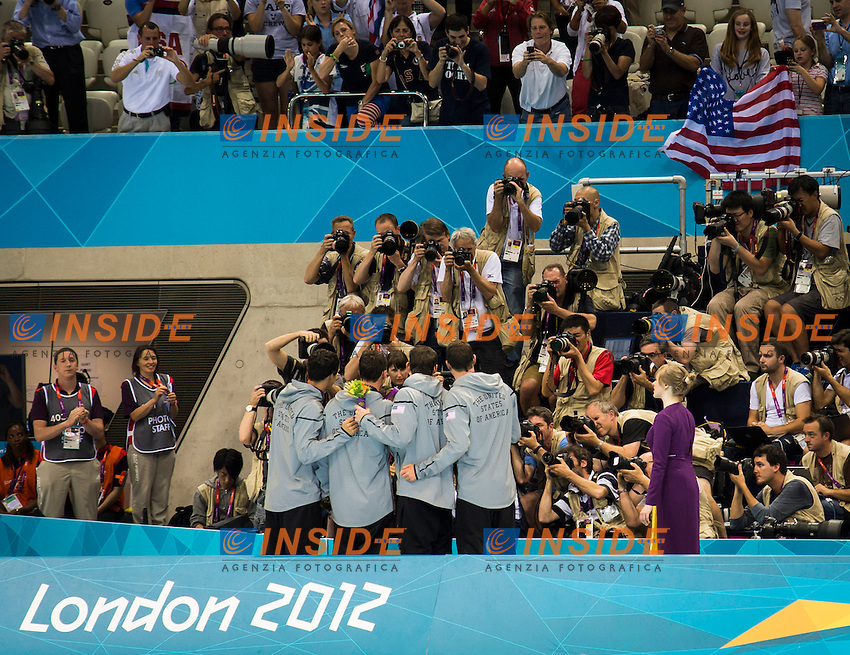 USA.LOCHTE Ryan, DWYER Conor, BERENS Ricky, PHELPS Michael (Gold medal).4x200m Freestyle Relay men.Podium.London 2012 Olympics - Olimpiadi Londra 2012.day 05 July 31.Photo G.Scala/Deepbluemedia.eu/Insidefoto