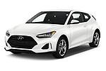 2019 Hyundai Veloster Base 3 Door Hatchback angular front stock photos of front three quarter view