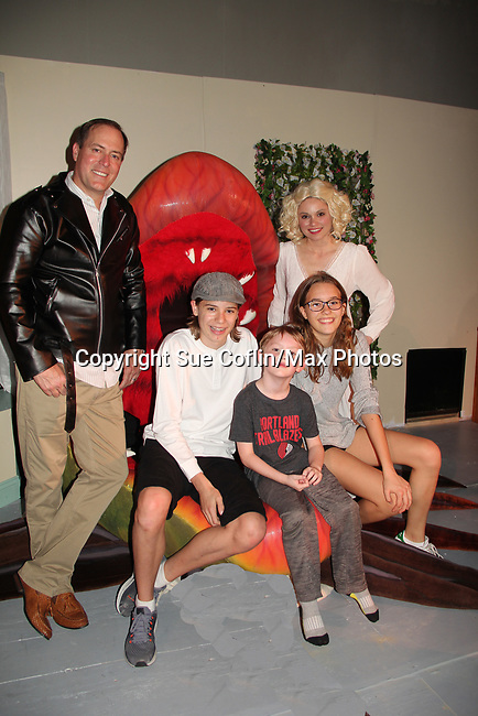 """Guiding Light's Mandy Bruno and Robert Bogue with sons Zeb (15) & Flynn (6) and daughter Zoe (13) as Mandy and Rob star in Lilttle Shop of Horrors The Musical on May 27, 2018 presented by CaPAA at the Ritz Theater in Scranton, PA. Mandy is """"Audrey"""", Robert is """"Orian, Berstein, Luce, Snip, Martin"""" and Kelly is """"Seymour"""". Mandy is  also the director, set designer, video projection production, props and costumes.  (Photo by Sue Coflin/Max Photo)"""