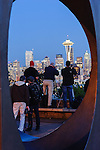 Photographers on Photographers Breakthrough workshop shooting Seattle skyline at twilight, from Kerry Park.