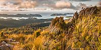 Sunset over Whanganui Inlet on west coast with alpine vegetation, Nelson Region, West Coast, South Island, New Zealand, NZ