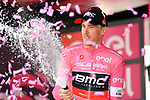 Rohan Dennis (AUS) BMC Racing Team retains the race leaders Maglia Rosa on the podium at the end of Stage 5 of the 2018 Giro d'Italia, running 153km from Agrigento to Santa Ninfa (Valle del Belice), Sicily, Italy. 9th May 2018.<br /> Picture: LaPresse/Massimo Paolone | Cyclefile<br /> <br /> <br /> All photos usage must carry mandatory copyright credit (&copy; Cyclefile | LaPresse/Massimo Paolone)