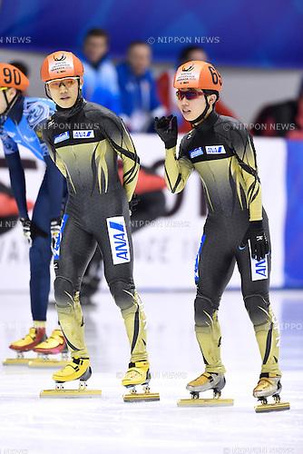 (L-R) Hijiri Iwashita, Dan Iwasa (JPN), <br /> FEBRUARY 11, 2015 - Short Track : <br /> 27th Winter Universiade Granada 2015 <br /> Short Track Men's Traning <br /> at Universiade Igloo, Granada, Spain. <br /> (Photo by AFLO SPORT) [1220]