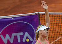 La russa Maria Sharapova dopo aver vinto la semifinale contro la connazionale Daria Gavrilova agli Internazionali d'Italia di tennis a Roma, 16 maggio 2015. <br />