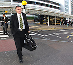 Tony Mowbray arrives at Glasgow airport