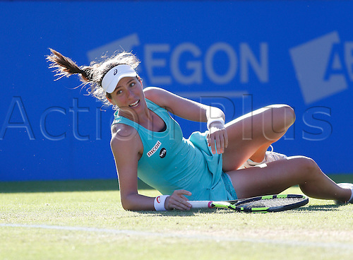 24.06.2016 Eastbourne, England. Aegon International Eastbourne tennis tournament. Johanna Konta (GBR) slips as she is defeated by Karolina Pliskova (CZE) by a score of 6(5)-7, 6-3, 6-3 in their Semifinals match at Devonshire Park.