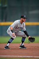 Akron RubberDucks third baseman Alexis Pantoja (1) during an Eastern League game against the Erie SeaWolves on June 2, 2019 at UPMC Park in Erie, Pennsylvania.  Akron defeated Erie 7-2 in the first game of a doubleheader.  (Mike Janes/Four Seam Images)