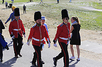 Military escort for the Queen fans during Saturday's Foursomes Matches at the 2018 Ryder Cup 2018, Le Golf National, Ile-de-France, France. 29/09/2018.<br /> Picture Eoin Clarke / Golffile.ie<br /> <br /> All photo usage must carry mandatory copyright credit (&copy; Golffile | Eoin Clarke)