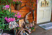 Garden tool potting shed decorated with recycled flea market style