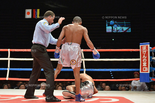 (T-B) Liborio Solis (VEN), Kohei Kono (JPN),<br /> MAY 6, 2013 - Boxing :<br /> Liborio Solis of Venezuela knocks down Kohei Kono of Japan in the eighth round during the WBA super flyweight title bout at Ota-City General Gymnasium in Tokyo, Japan. (Photo by Hiroaki Yamaguchi/AFLO)