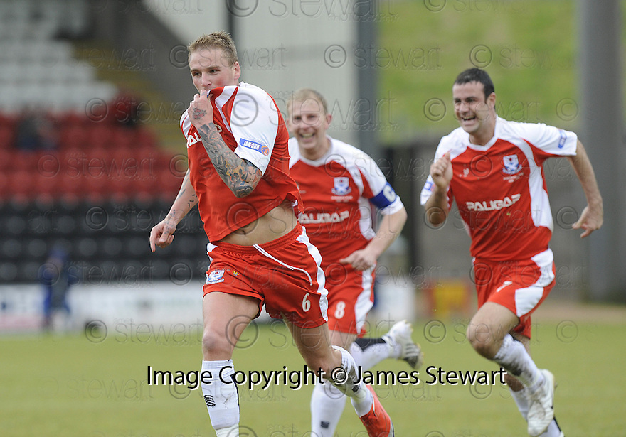 24/05/2009  Copyright  Pic : James Stewart.sct_jspa_04_airdrie_v-Ayr.RYAN STEVENSON CELEBRATES AFTER HE SCORES AYR'S FIRST.James Stewart Photography 19 Carronlea Drive, Falkirk. FK2 8DN      Vat Reg No. 607 6932 25.Telephone      : +44 (0)1324 570291 .Mobile              : +44 (0)7721 416997.E-mail  :  jim@jspa.co.uk.If you require further information then contact Jim Stewart on any of the numbers above.........