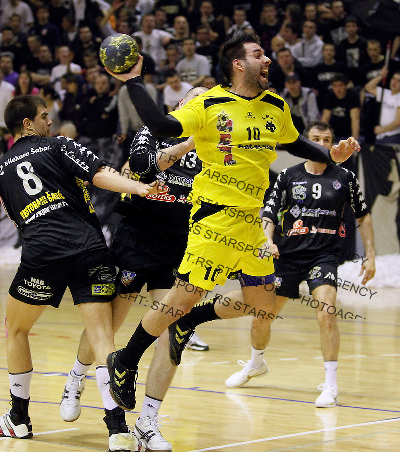 Handball, challenge cup, season 2010-2011.Partizan Vs. AEK (Athens).Georgios Vakalis, right and Ivan Dimitrijevic, left.Belgrade, 26.03.2011..foto: Srdjan Stevanovic