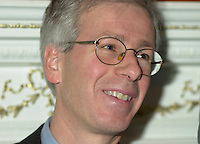 Dec 14,  2001, Montreal, Quebec, Canada<br /> StÈphane Dion, President of the Privy Council and Minister of<br /> Intergovernmental Affairs look as  Claudette Bradshaw, Minister of Labour and Federal and Co-ordinator on Homelessness (Not in the photo)<br /> give a press conference at Chez Doris ( a shelter for homeless women) in presence of it's Director Doris and deputies from the Monrteal area<br /> <br /> Bradshaw spend the day in the Montreal area announcing  funding to address   homelessness in Quebec under the Government of<br /> Canada's National Homelessness Initiative.<br /> <br /> <br />  <br /> <br /> Mandatory Credit: Photo by Pierre Roussel- Images Distribution. (©) Copyright 2001 by Pierre Roussel <br /> ON SPEC<br /> NOTE l Nikon D-1 jpeg opened with Qimage icc profile, saved in Adobe 1998 RGB.