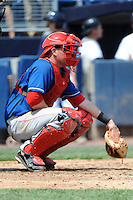 Auburn Doubledays catcher Craig Manuel (23) during game against the Staten Island Yankees at Richmond County Bank Ballpark at St.George on August 2, 2012 in Staten Island, NY.  Auburn defeated Staten Island 11-3.  Tomasso DeRosa/Four Seam Images