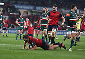 9th December 2017, Thomond Park, Limerick, Ireland; European Rugby Champions Cup, Munster versus Leicester Tigers; Rhys Marshall, Munster scores his side's opening try