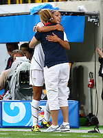 USA's Sydney Leroux (L) celebrates after substitution with coach Jill Ellis during the FIFA U20 Women's World Cup at the Rudolf Harbig Stadium in Dresden, Germany on July 17th, 2010.